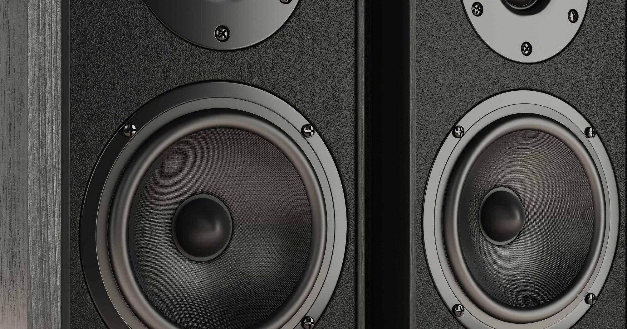 Sound speakers stereo system isolated on white background 3d