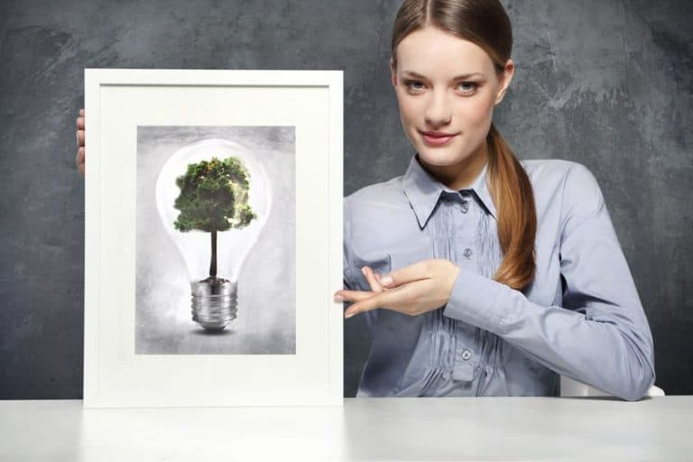 girl holds a frame with the image of eco concept, green tree growing in a bulb