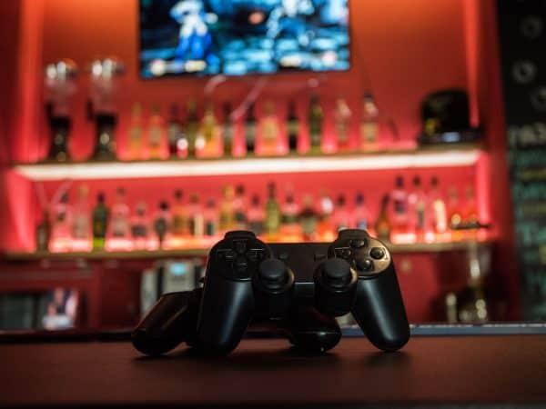 Video games at bar counter