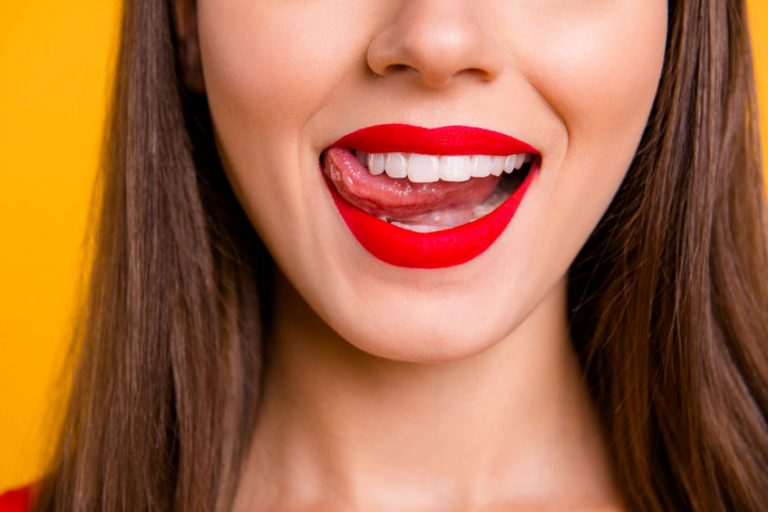 Smiling red lips girl