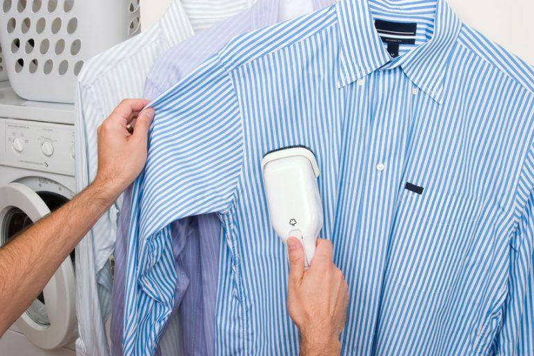 ironing a blue shirt