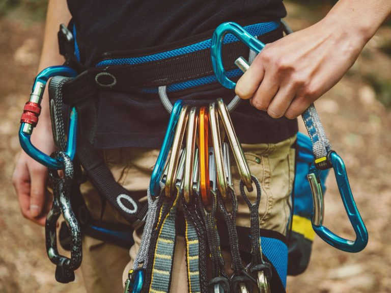 climber wearing safety harness