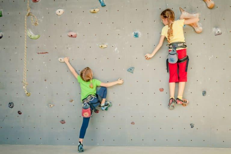 two kids climbing