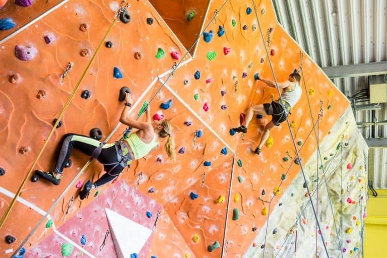 a couple climbing