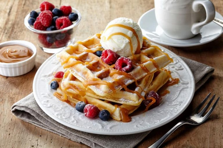 Waffles with ice cream and cranberries
