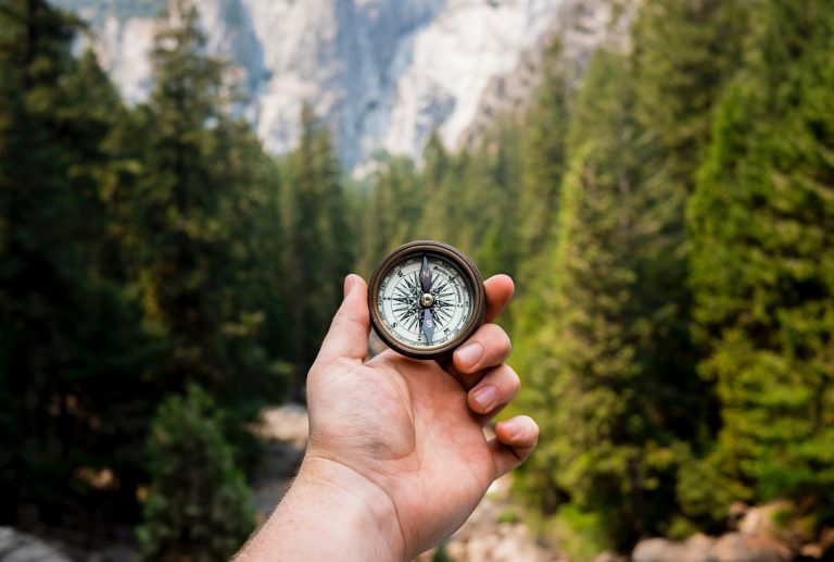 Using a compass in the woods