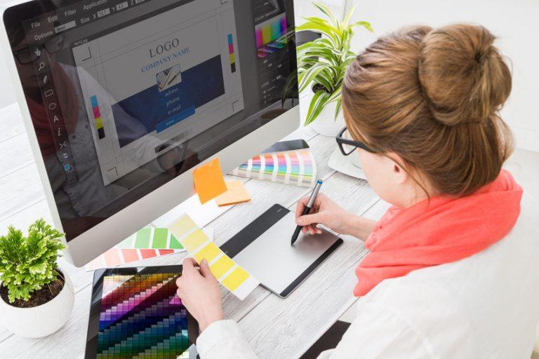 Graphic designer at work