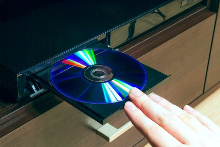 blu-ray player with inserted disc
