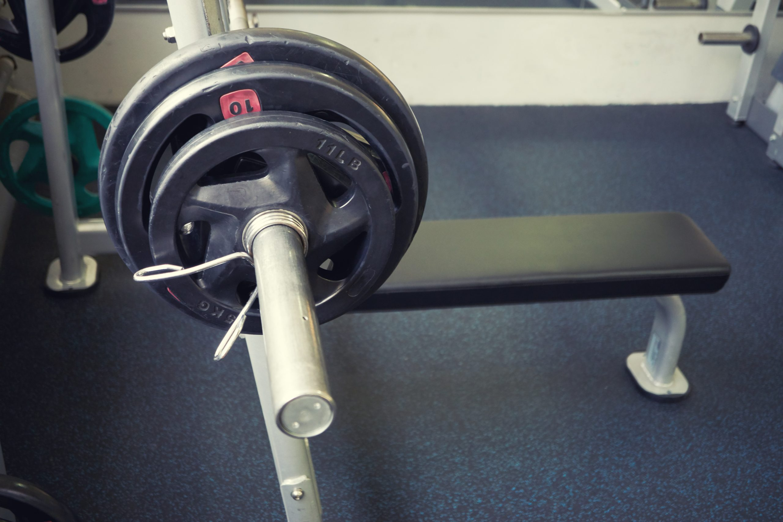 empty bench press with barbell