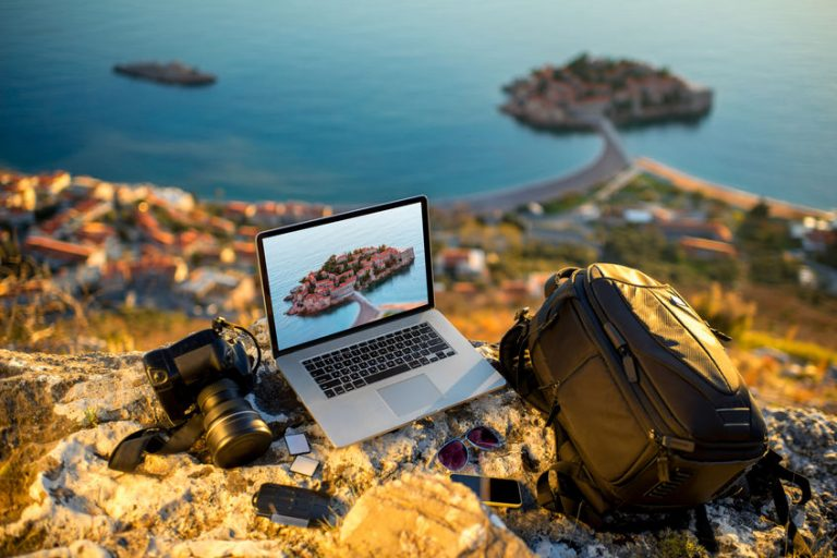 traveler with a laptop