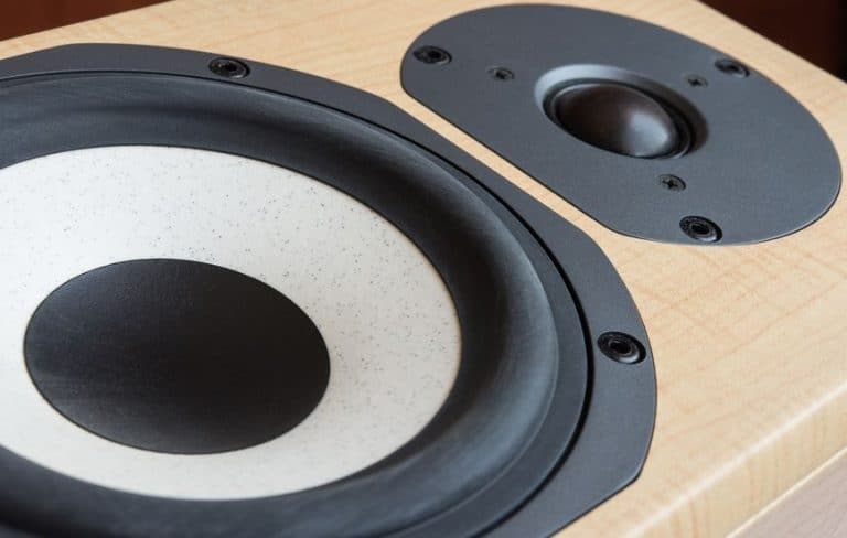 closeup of mid-range and tweeter drivers of a hi-fi loudspeaker