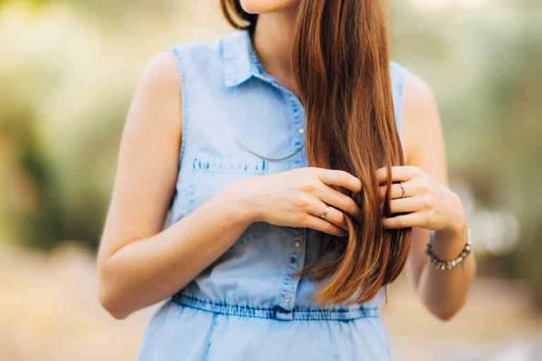 Woman's hair, curls close-up