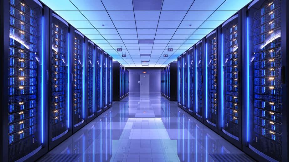 erver racks in server room data center. 3d render