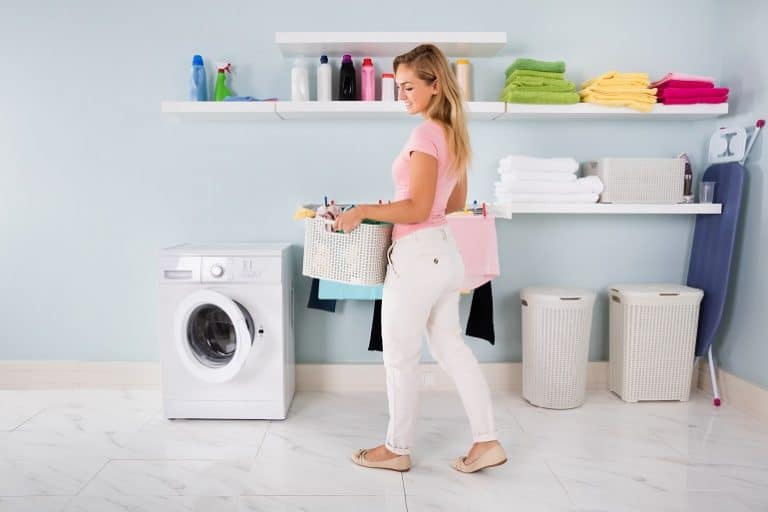 girl in the laundry room