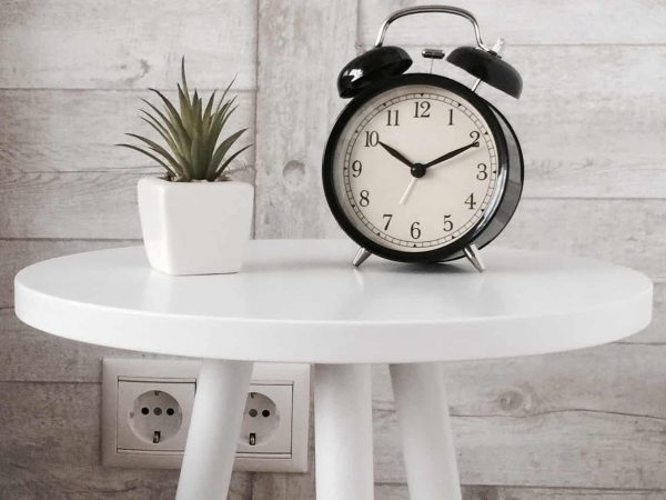 table and a clock
