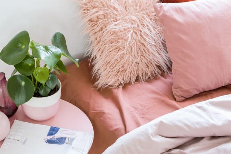 bed and a little table pink