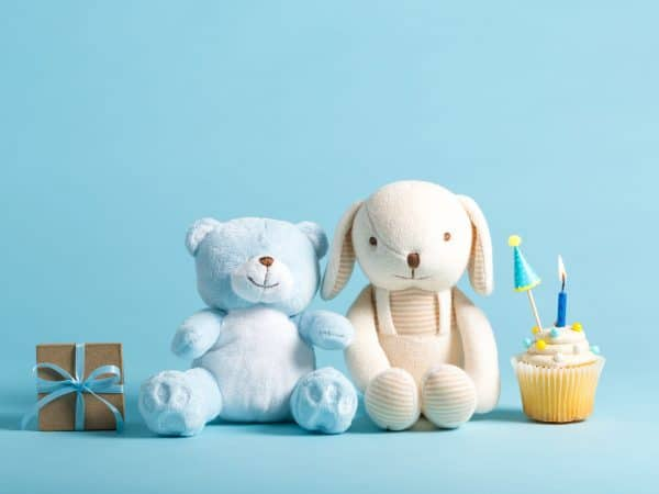 82331199 – child celebration theme with cupcakes and stuffed animals