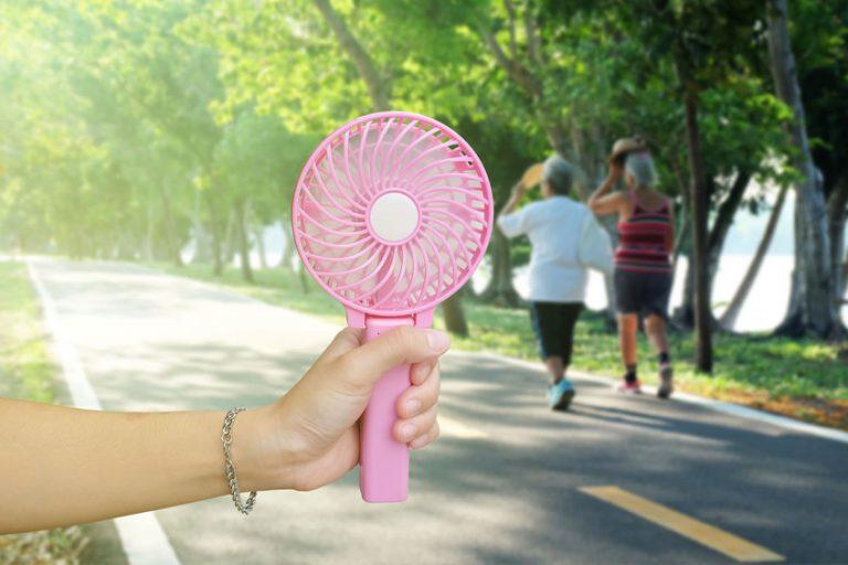 pink mini fan for hand