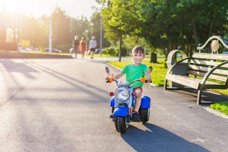 little boy on a motor bike