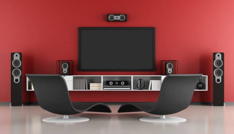 Red and black Contemporary home cinema