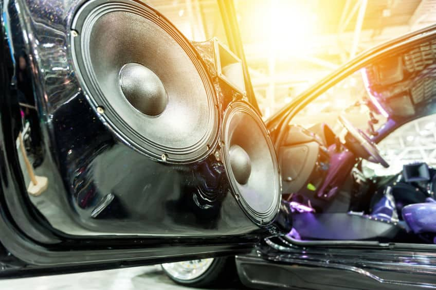 Speakers in a sport car