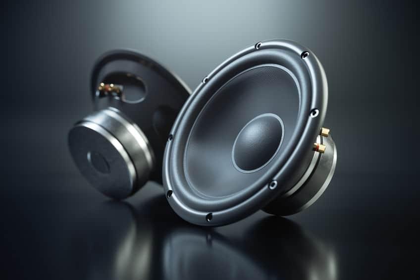 Two sound speakers on black background 3d render
