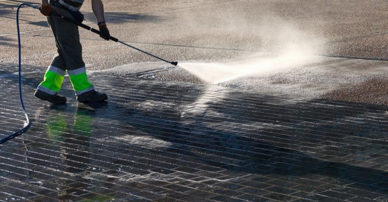 Wet cleaning of street.