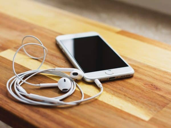 Picture of a phone with headphones