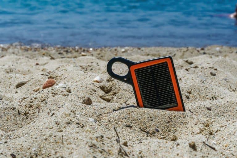 solar power bank on the sand
