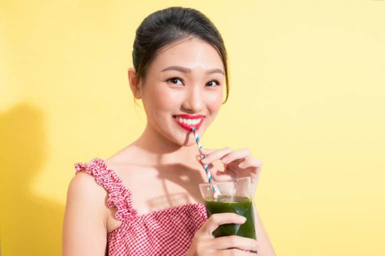 girl drinking a shake