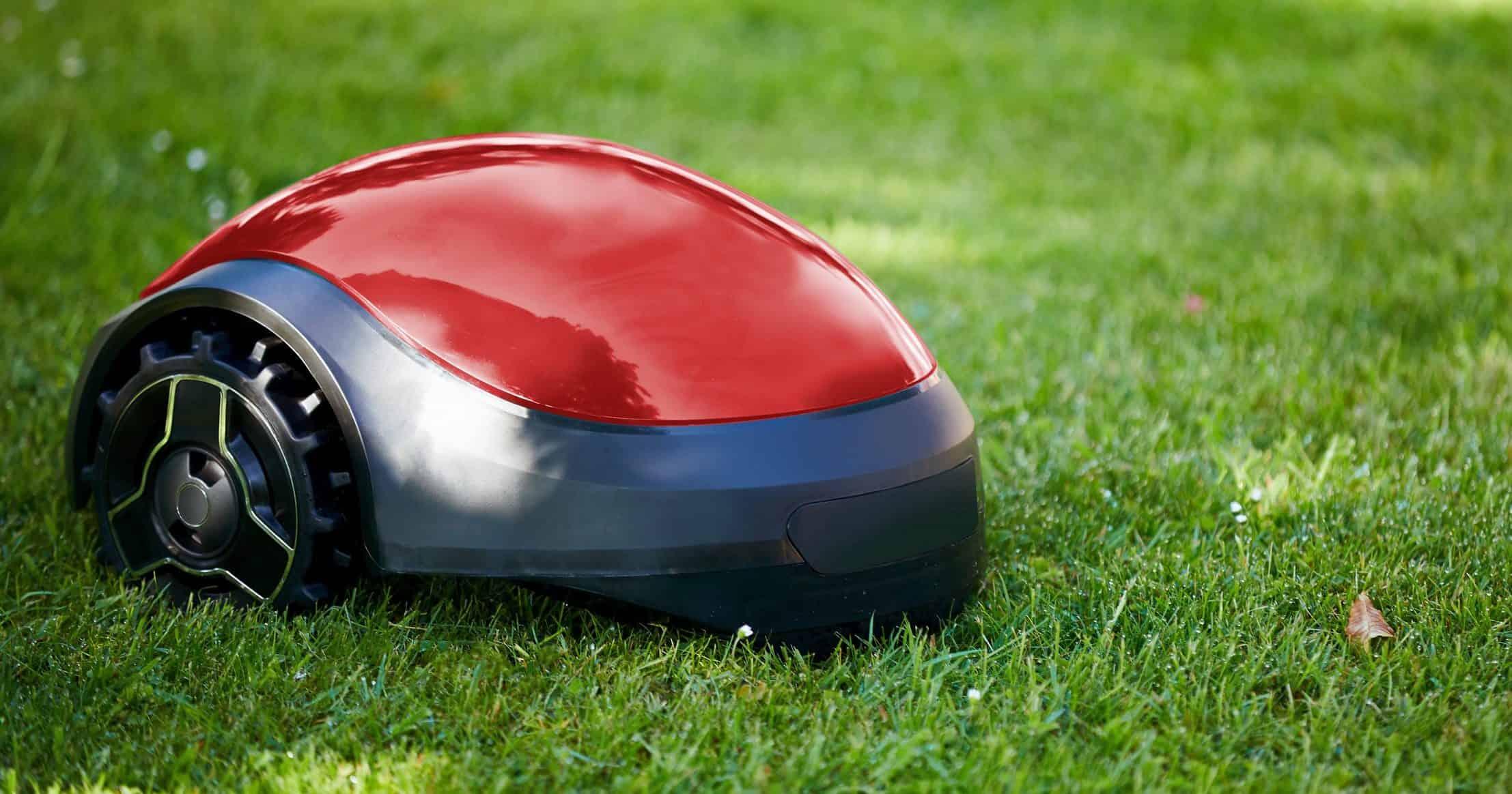 Robotgrasmaaimachine op de zomerweide in de tuin met exemplaarruimte
