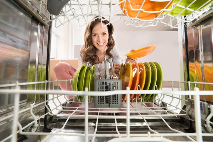 Vrouw Met Plaatmening Van Binnenuit De Afwasmachine