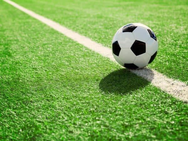 71942922 – soccer ball on soccer field
