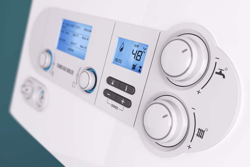 Slimme bedieningspaneel huishoudelijke gasboiler close-up 3d