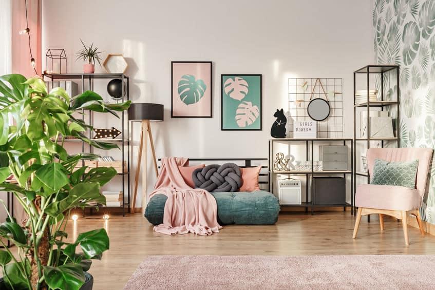Designer bank in de woonkamer