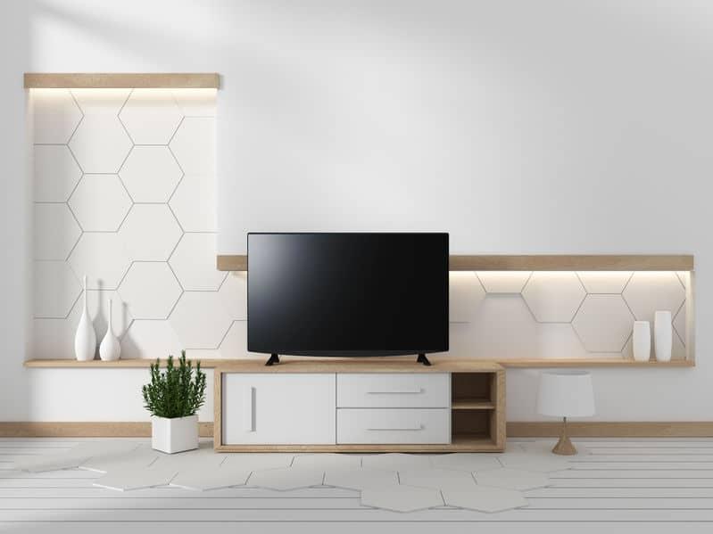 moderne tv op een minimalistische woonkamer