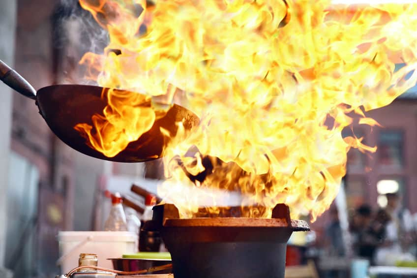 Street Food Festival. Koken Voedsel In Brand