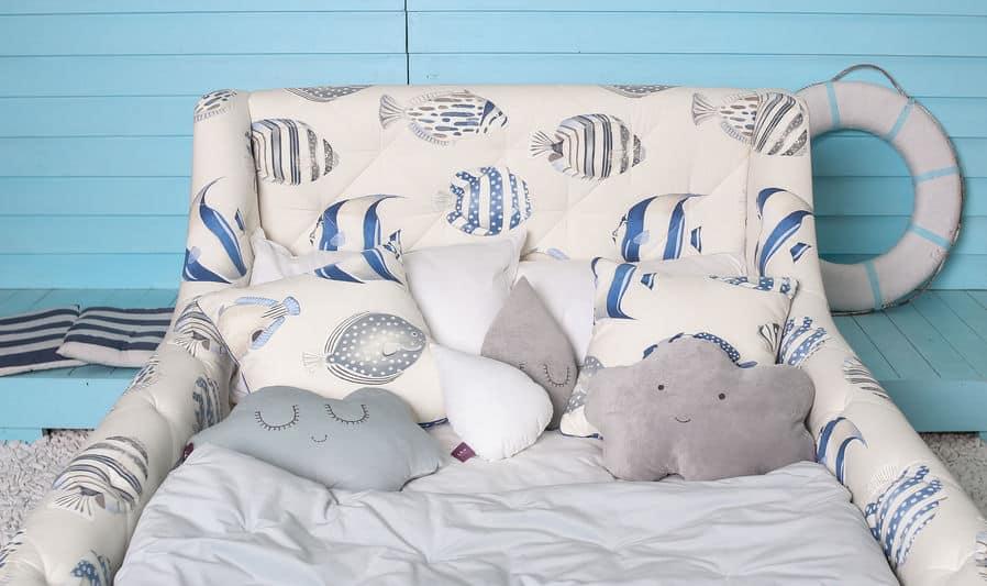 slaapkamer kinderen stijl zeeblauwe achtergrond