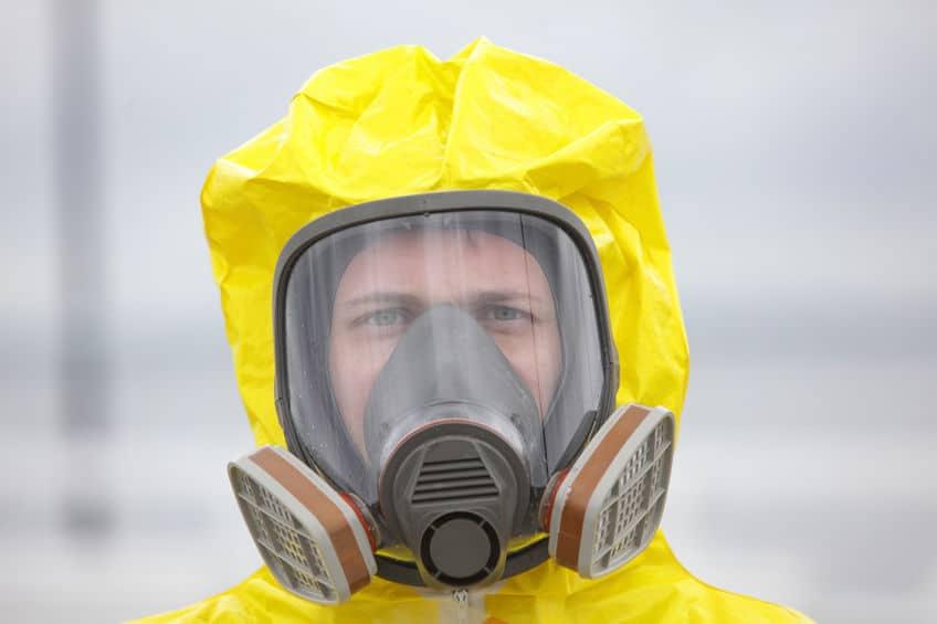 bioveiligheidspak met gasmasker
