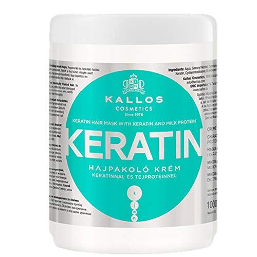 Kallos KJMN Crème met keratine en melkproteïnen voor droog, breekbaar en chemisch behandeld haar, 1000 ml