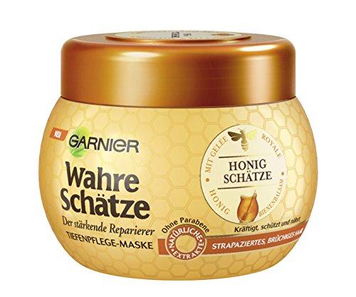 Garnier Echte Schatten diepe verzorging masker, haarkuur met propolis en gelei Royal, haarmasker met honing, 300ml