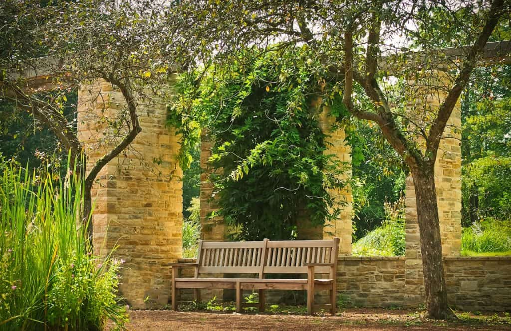 Imagem de banco grande de madeira em parque.