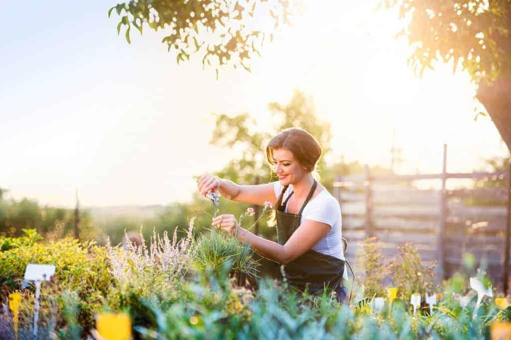 Na foto uma mulher sorrindo podando os jardim.