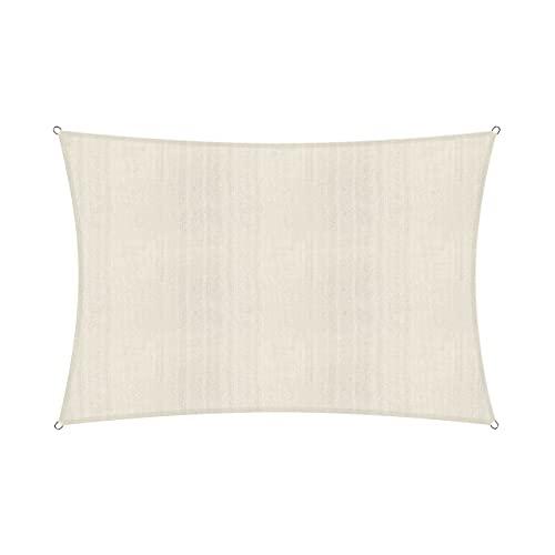Lumaland Zonnekap Zeil Bevestigingstouwen inbegrepen, 100% HDPE met stabilisator UV-bescherming 2x3m beige