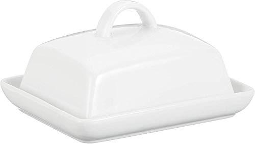 axentia Botervloot porselein, klassieke boterbel voor 250 g boter, boterbox voor huishouden en keuken, boterschaal met deksel en handgreep, wit