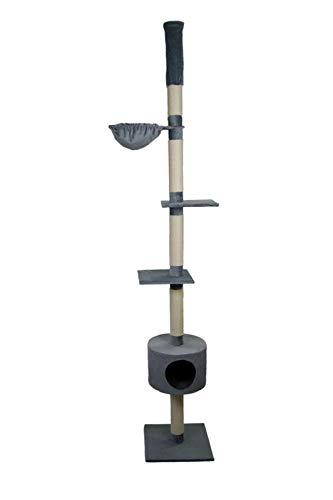 animal-design Kattenboom plafondhoogte beige, grijs - skinny - met ligkom, woonholt, kleur: grijs