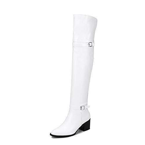 Vrouwen over de knie laarzen, Toe Overknee Bootie Laarzen voor dames hakken, Thin knielaarzen met dikke hakken,White,41