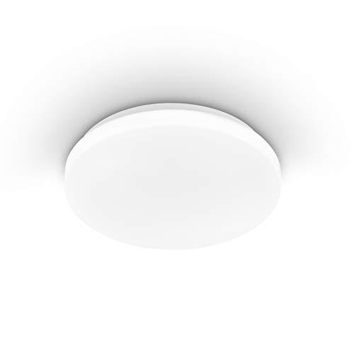 EGLO plafondlamp POGLIOLA, Ø 26 cm, 1 lichtbron wandlamp, led plafondarmatuur in staal en kunststof in wit, woonkamerlamp, keukenlamp, kantoorlamp, staanlamp plafond
