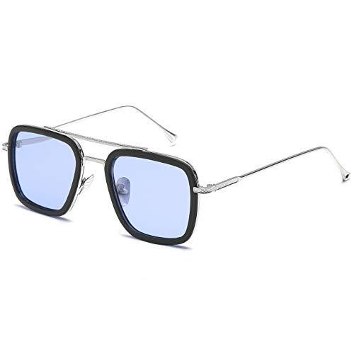 SHEEN KELLY Retro zonnebril Tony Stark, ijzeren metalen frame voor dames en heren