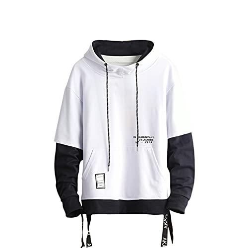 Gurunvani Pullover met capuchon voor heren, patchwork-hoodie met contrasterende kleur, wit, XS